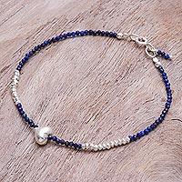 Lapis lazuli beaded bracelet, 'Love Language in Blue' - Lapis Lazuli and Silver Beaded Heart Bracelet