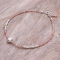 Sunstone beaded bracelet, 'Love Language in Pink' - Sunstone and Silver Beaded Heart Bracelet