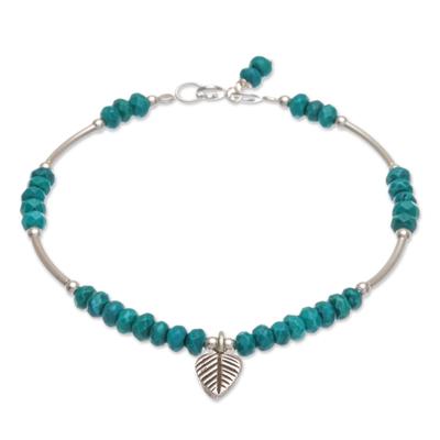 Sterling silver charm bracelet, 'Stillness in Turquoise' - Sterling Silver Leaf Charm Bracelet