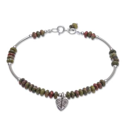 Unakite charm bracelet, 'Stillness in Green' - Unakite and Sterling Silver Leaf Charm Bracelet