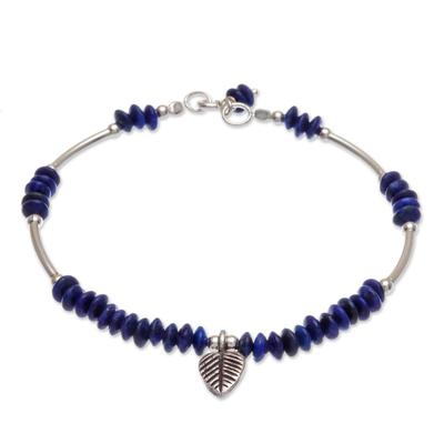 Lapis lazuli charm bracelet, 'Stillness in Blue' - Lapis Lazuli Sterling Silver Leaf Charm Bracelet