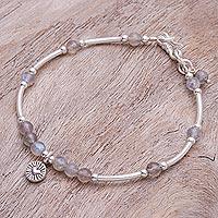 Labradorite charm bracelet, 'New Heart in Labradorite' - Labradorite and Sterling Silver Charm Bracelet