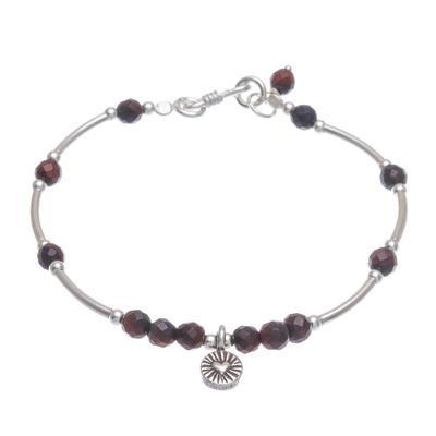 Tiger's eye charm bracelet, 'New Heart in Brown' - Tiger's Eye and Sterling Silver Charm Bracelet