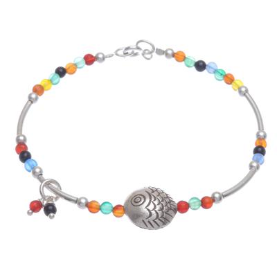 Chalcedony beaded bracelet, 'Floating Fish in Rainbow' - Chalcedony and Sterling Silver Beaded Bracelet