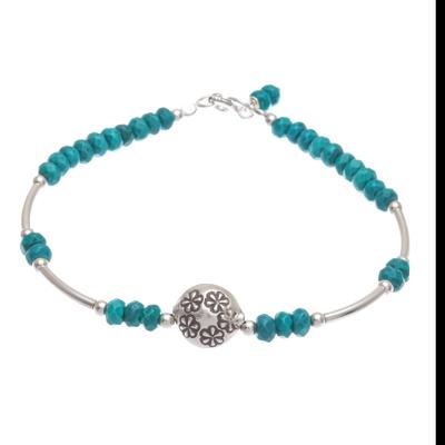 Sterling silver beaded bracelet, 'Daisy Crown in Teal' - Sterling and Karen Silver Beaded Bracelet