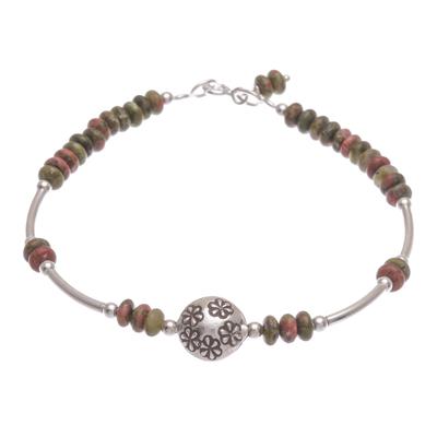 Unakite beaded bracelet, 'Daisy Crown in Green' - Unakite and Sterling Silver Beaded Bracelet