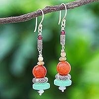 Multi-gemstone dangle earrings, 'Speedy Orbit' - Handcrafted Aventurine and Garnet Dangle Earrings