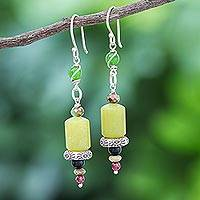 Multi-gemstone dangle earrings, 'Green Vibe' - Artisan Crafted Jasper and Aventurine Dangle Earrings
