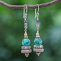 Jasper and howlite dangle earrings, 'Afternoon Party' - Handmade Jasper and Howlite Dangle Earrings