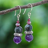 Multi-gemstone dangle earrings, 'The Queen's Star'