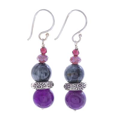 Multi-gemstone dangle earrings, 'The Queen's Star' - Thai Amethyst and Quartz Dangle Earrings