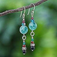 Multi-gemstone dangle earrings, 'Sea Dream' - Thai Garnet and Onyx Dangle Earrings