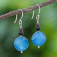 Garnet and onyx dangle earrings, 'Fun Vacation' - Hand Made Garnet and Onyx Dangle Earrings