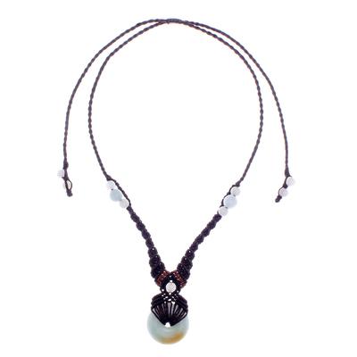 Macrame jade pendant necklace, 'Super Moon' - Hand Knotted Macrame Jade Pendant Necklace