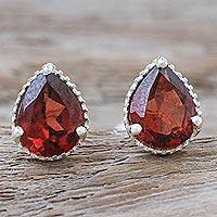 Garnet stud earrings, 'Merlot Drop'