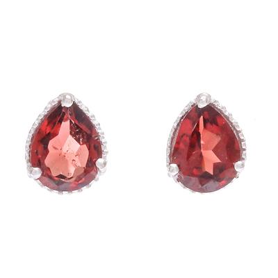Garnet stud earrings, 'Merlot Drop' - Hand Made Garnet and Sterling Silver Stud Earrings