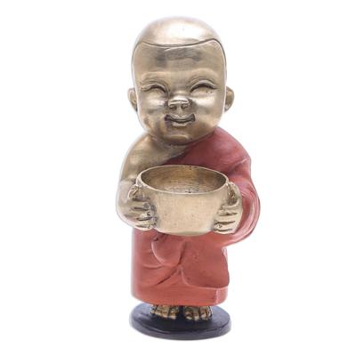 Hand Painted Brass Monk Sculpture
