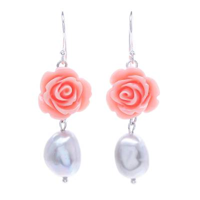 Cultured Pearl and Sterling Silver Rose Earrings