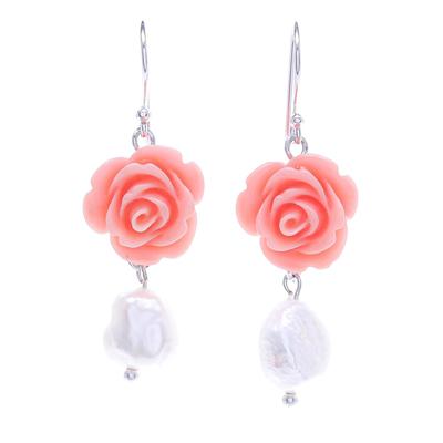 Cultured pearl dangle earrings, 'Misty Rose' - Freshwater Pearl and Sterling Silver Dangle Earrings