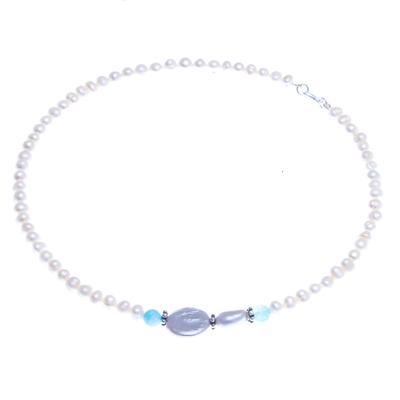 Cultured pearl and quartz pendant necklace, 'Sky Pearls' - Cultured Pearl and Quartz Pendant Necklace