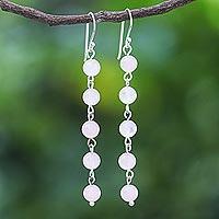 Rose quartz dangle earrings, 'Exploding Star in Pink' - Rose Quartz and Sterling Silver Dangle Earrings