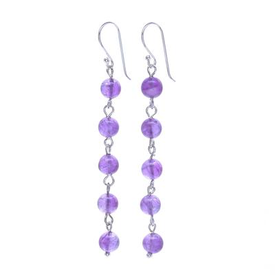 Amethyst dangle earrings, 'Exploding Star in Purple' - Amethyst and Sterling Silver Dangle Earrings