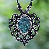 Macrame chrysocolla pendant necklace, 'Pilgrimage' - Macrame Chrysocolla and Brass Statement Necklace