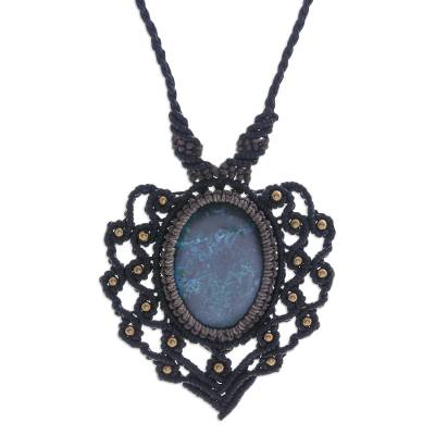 Macrame Chrysocolla and Brass Statement Necklace