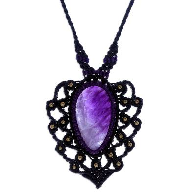 Macrame amethyst pendant necklace, 'Nature Dream' - Macrame Amethyst and Brass Statement Necklace