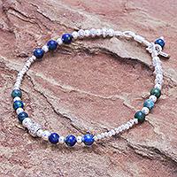 Azure-malachite beaded bracelet, 'Brighter Day in Blue' - Azure-Malachite and Sterling Silver Beaded Bracelet