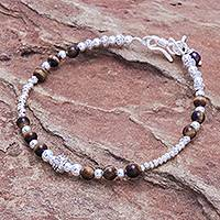 Tiger's eye beaded bracelet, 'Brighter Day in Brown' - Tiger's Eye and Sterling Silver Beaded Bracelet
