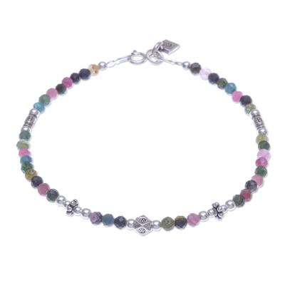 Tourmaline beaded bracelet, 'Sweet Taste' - Tourmaline and Sterling Silver Beaded Bracelet