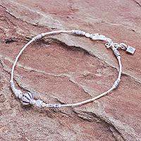 Silver beaded bracelet, 'Everyday Silver' - Karen and Sterling Silver Beaded Bracelet