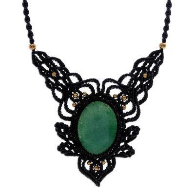 Macrame aventurine pendant necklace, 'Wild Dream in Green' - Macrame Aventurine and Brass Statement Necklace