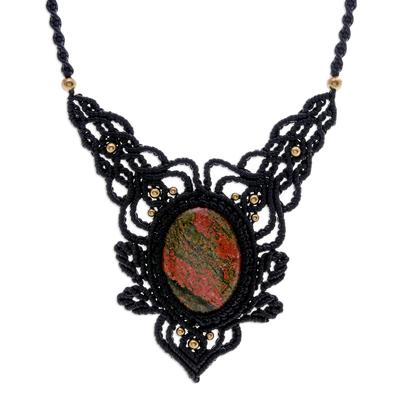 Macrame unakite pendant necklace, 'Wild Dream in Orange' - Macrame Unakite and Brass Statement Necklace