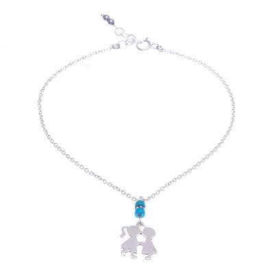 Hematite and Sterling Silver Charm Anklet