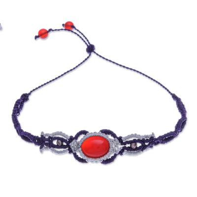 Macrame Chalcedony and Sterling Silver Wristband Bracelet