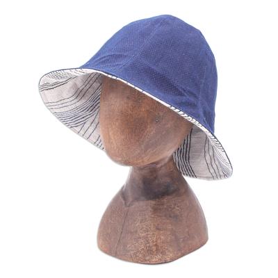 Blue Cotton Bucket Hat