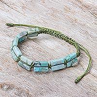 Macrame jasper beaded bracelet, 'Frothy Seas'