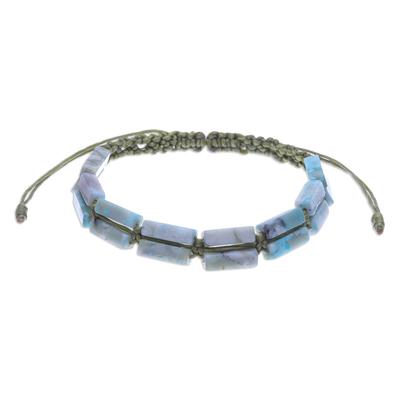 Macrame jasper beaded bracelet, 'Frothy Seas' - Thai Macrame Jasper Beaded Bracelet
