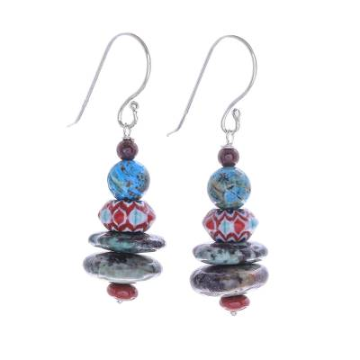 Jasper dangle earrings, 'Speckled Egg' - Jasper and Glass Bead Dangle Earrings