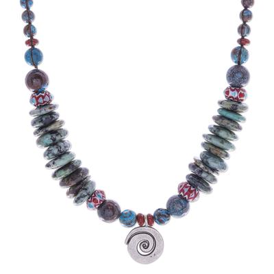 Macrame jasper pendant necklace, 'Speckled Spiral' - Handmade Silver and Jasper Pendant Necklace