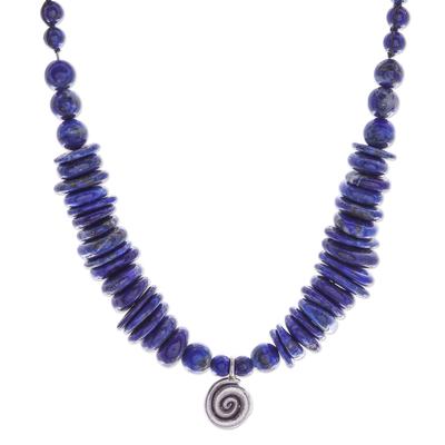 Lapis lazuli pendant necklace, 'Royal Spiral' - Silver and Lapis Lazuli Beaded Pendant Necklace