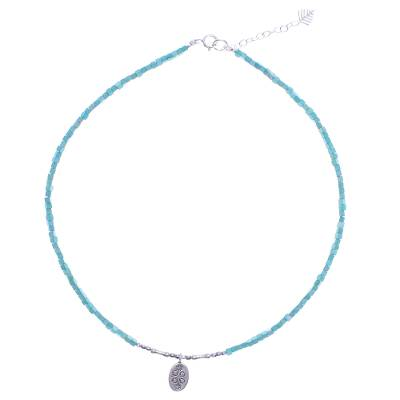 Amazonite pendant necklace, 'Pale Flower' - Amazonite and Sterling Silver Pendant Necklace