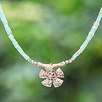 Rose gold-plated pendant necklace, 'Rose Gold Beach' - Rose Gold-Plated Jasper Beaded Pendant Necklace