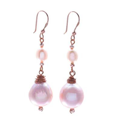 Rose gold-plated cultured pearl dangle earrings, 'Sea Glow' - Rose Gold-Plated Cultured Pearl Dangle Earrings