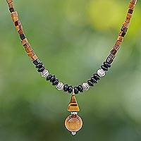 Multi-gemstone pendant necklace, 'Basking Beauty' - Handmade Tiger's Eye and Onyx Pendant Necklace
