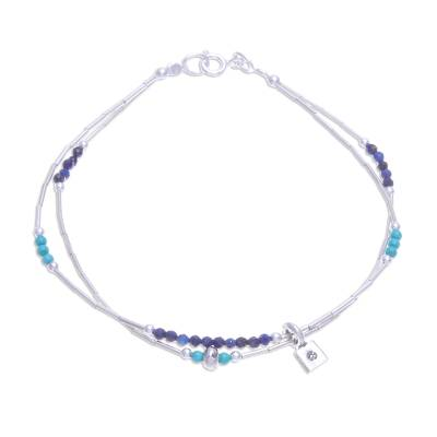 Lapis Lazuli and Karen Silver Charm Bracelet