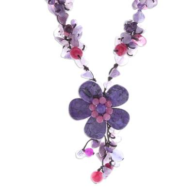 Agate and Amethyst Floral Pendant Necklace