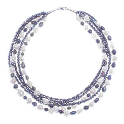 Cultured pearl station necklace, 'Contrasting Sea' - Hand Made Cultured Pearl Station Necklace